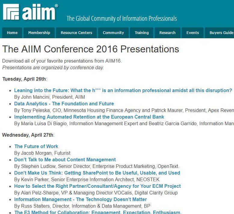 Präsentationen der AIIM Conference